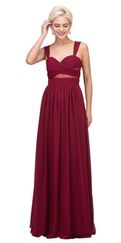 Star Box USA 6418 A-line Long Formal Dress Pleated Bodice Burgundy