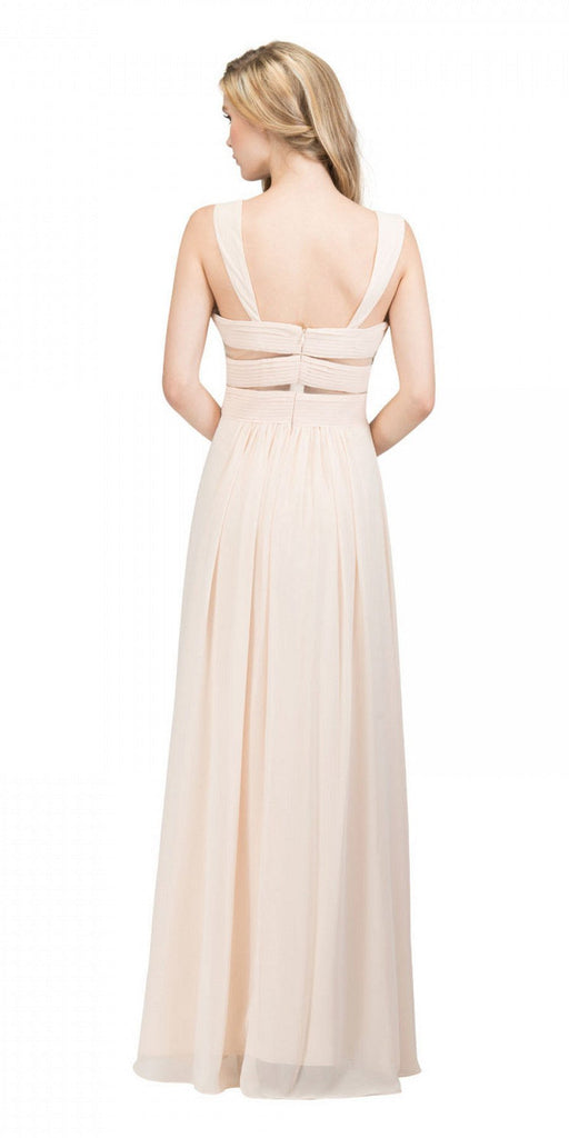 Star Box USA 6418 A-line Long Formal Dress Pleated Bodice Champagne Back View