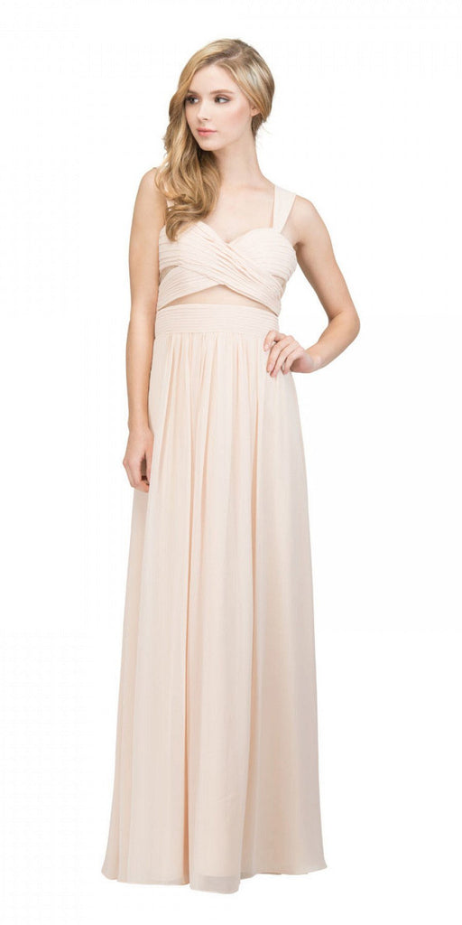 Star Box USA 6418 A-line Long Formal Dress Pleated Bodice Champagne