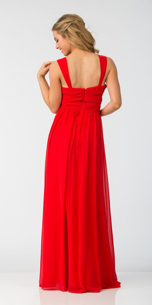 Star Box USA 6418 A-line Long Formal Dress Pleated Bodice Red Back View