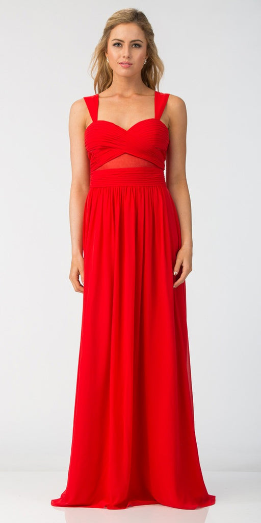 Star Box USA 6418 A-line Long Formal Dress Pleated Bodice Red
