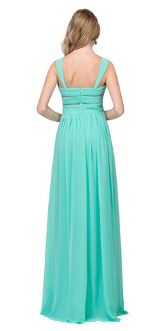 Star Box USA 6418 A-line Long Formal Dress Pleated Bodice Mint Back View