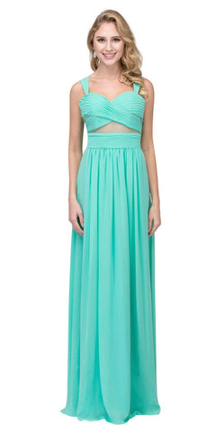 A-line Long Formal Dress Pleated Bodice Mint