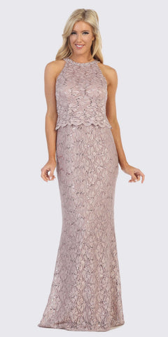 Mocha Halter Long Formal Lace Dress Sleeveless
