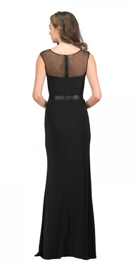 Black Illusion Appliqued Long Prom Dress with Slit Back View