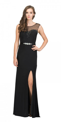 Black Illusion Appliqued Long Prom Dress with Slit