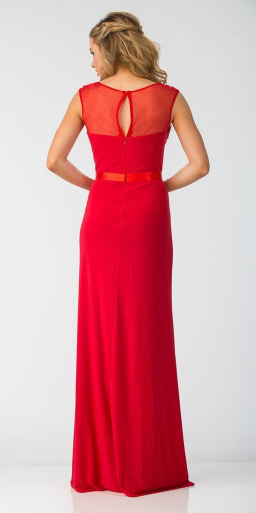 Red Illusion Appliqued Long Prom Dress with Slit