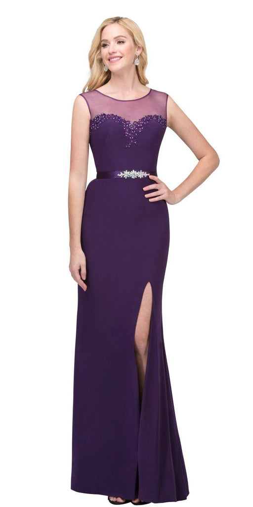 Eggplant Illusion Appliqued Long Prom Dress with Slit