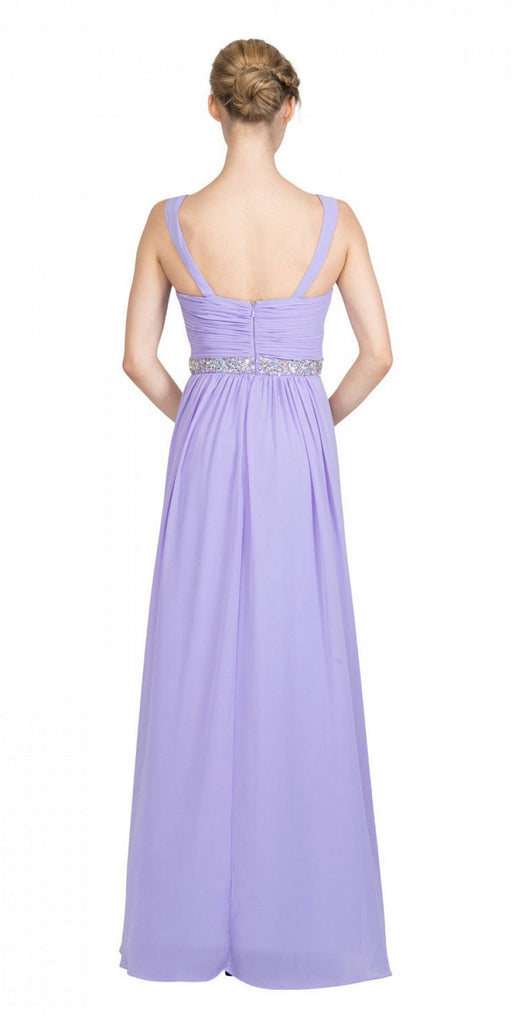 Starbox USA L6423 Lilac Embellished Waist Ruched Long Formal Dress Back View
