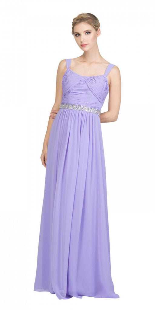 Starbox USA L6423 Lilac Embellished Waist Ruched Long Formal Dress
