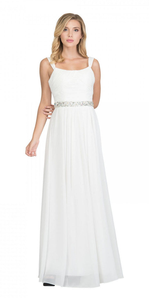 Starbox USA L6423 Off White Embellished Waist Ruched Long Formal Dress