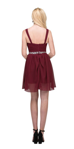 Starbox USA 6424 Embellished Waist Knee Length Homecoming Dress Burgundy Back View