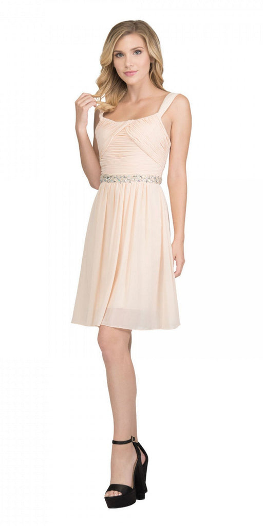 Starbox USA 6424 Embellished Waist Knee Length Homecoming Dress Champagne