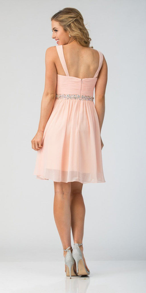 Starbox USA 6424 Embellished Waist Knee Length Homecoming Dress Blush Back View