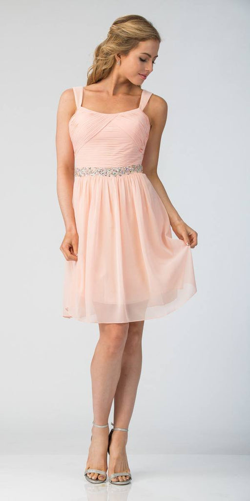 Starbox USA 6424 Embellished Waist Knee Length Homecoming Dress Blush