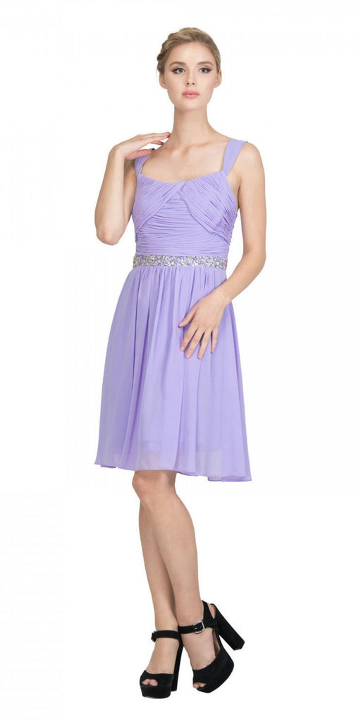 Starbox USA 6424 Embellished Waist Knee Length Homecoming Dress Lilac