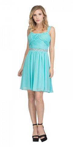 Starbox USA 6424 Embellished Waist Knee Length Homecoming Dress Tiffany Blue