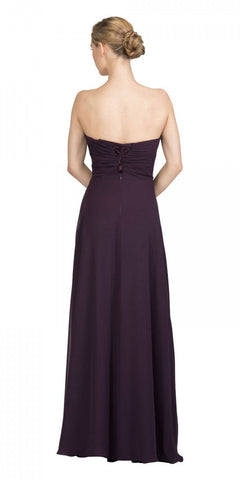 Starbox USA 6425 Strapless Long Bridesmaid Dress with Slit Eggplant Back View