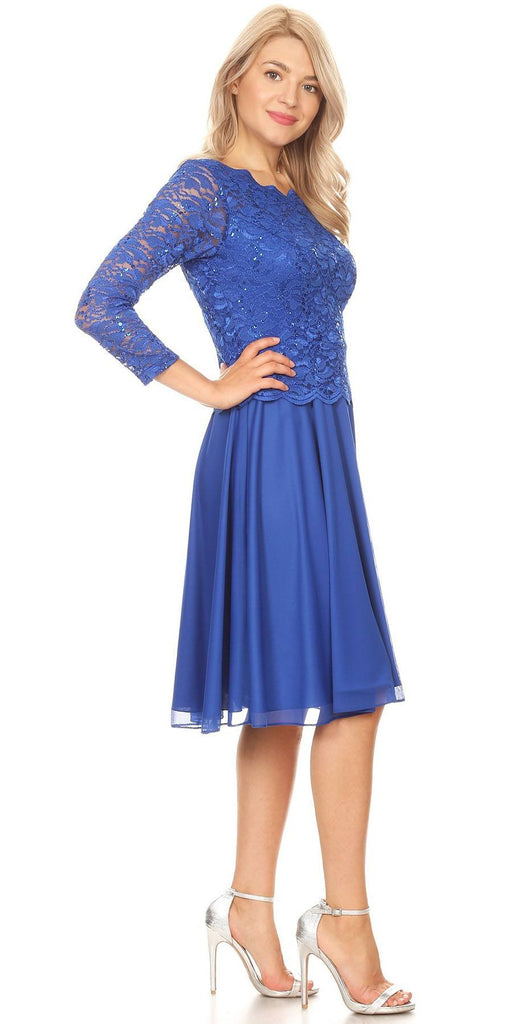 Royal Blue Short Wedding Guest Dress with Quarter Sleeves