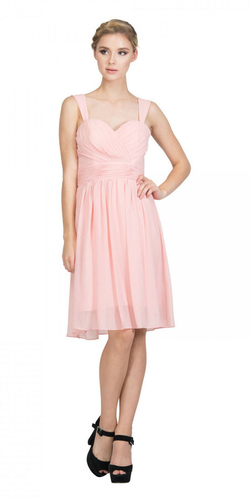 Starbox USA 6426 Pleated Bodice Short Bridesmaid Dress Wide Tank Blush