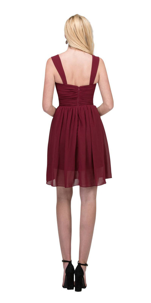 Starbox USA 6426 Pleated Bodice Short Bridesmaid Dress Wide Tank Burgundy Back View