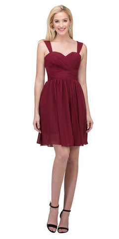 Starbox USA 6426 Pleated Bodice Short Bridesmaid Dress Wide Tank Burgundy