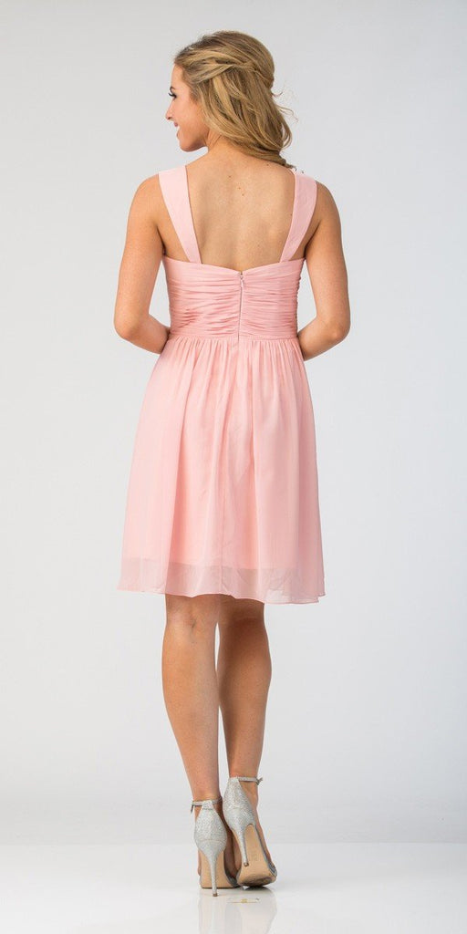 Starbox USA 6426 Pleated Bodice Short Bridesmaid Dress Wide Tank Blush Back View