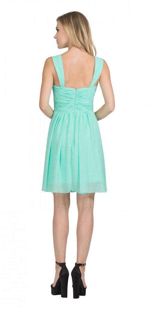 Starbox USA 6426 Pleated Bodice Short Bridesmaid Dress Wide Tank Mint Back View