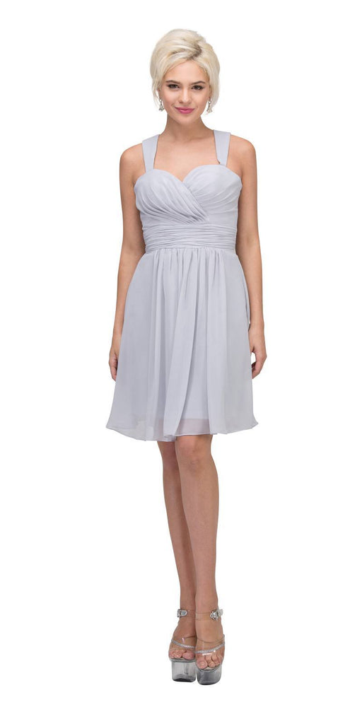 Starbox USA 6426 Pleated Bodice Short Bridesmaid Dress Wide Tank Silver