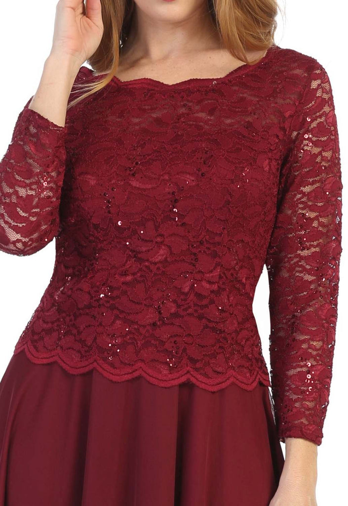 Burgundy Short Wedding Guest Dress with Quarter Sleeves