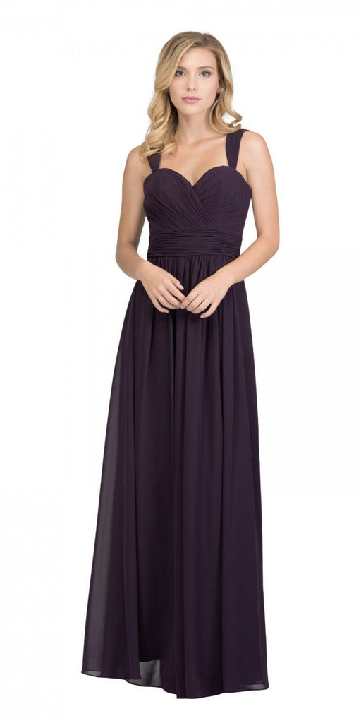 Starbox USA L6427 Pleated Sweetheart Neck Long Bridesmaids Dress Eggplant