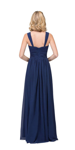 Starbox USA L6427 Pleated Sweetheart Neck Long Bridesmaids Dress Navy Blue Back View