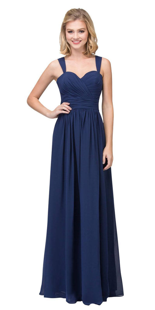 Starbox USA L6427 Pleated Sweetheart Neck Long Bridesmaids Dress Navy Blue