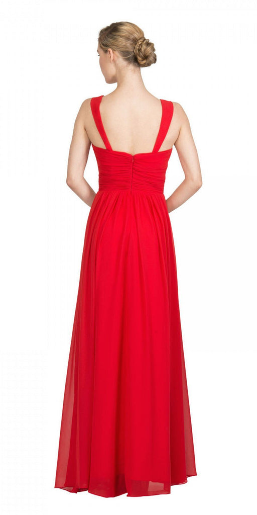 Starbox USA L6427 Pleated Sweetheart Neck Long Bridesmaids Dress Red Back View