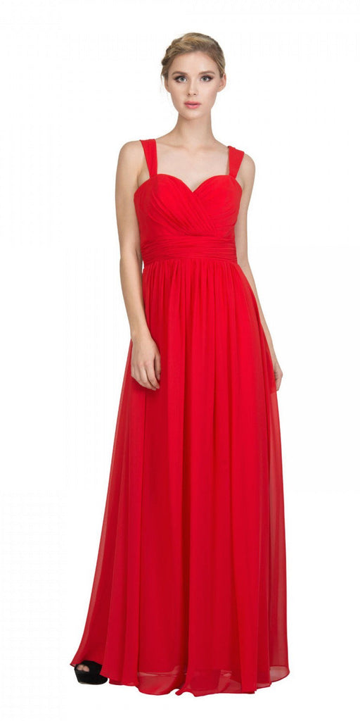 Starbox USA L6427 Pleated Sweetheart Neck Long Bridesmaids Dress Red