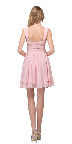 Blush Homecoming Short Dress with Sheer Cut-Outs Back View