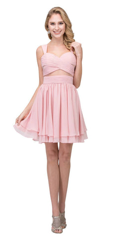Blush Homecoming Short Dress with Sheer Cut-Outs