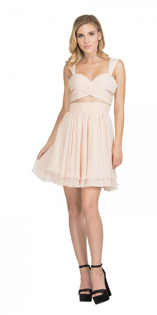 Champagne Homecoming Short Dress with Sheer Cut-Outs