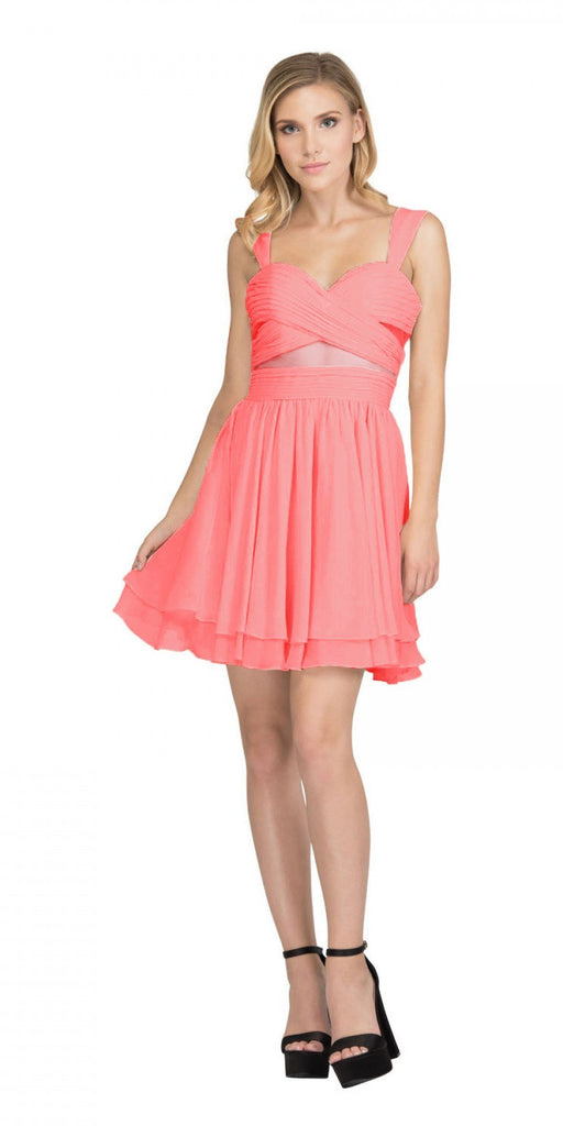 Coral Homecoming Short Dress with Sheer Cut-Outs