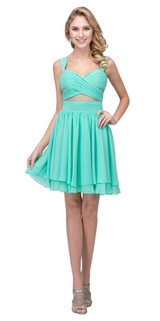 Mint Homecoming Short Dress with Sheer Cut-Outs