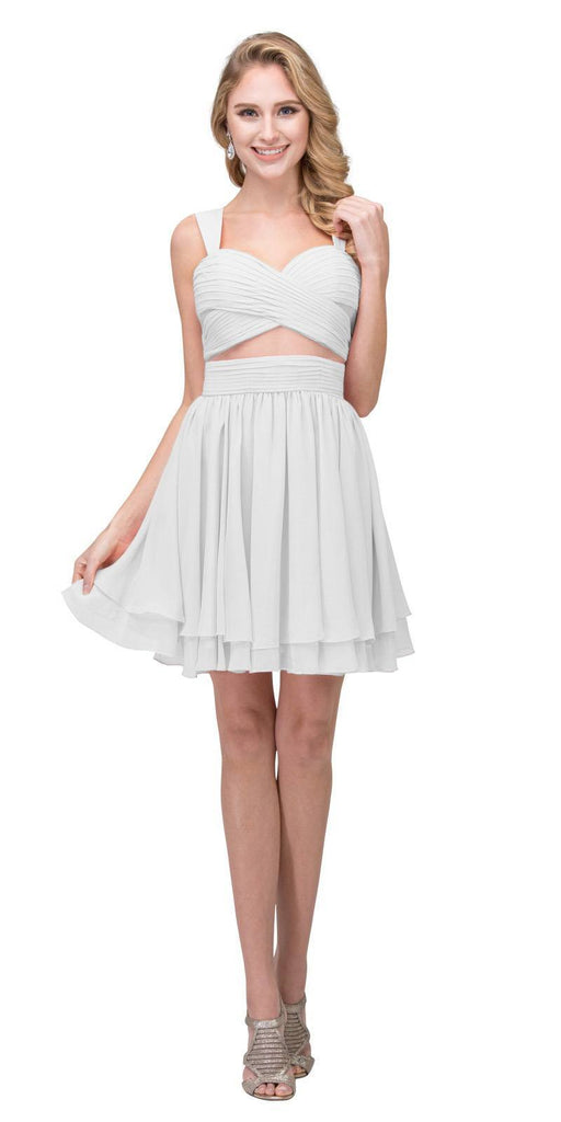 Off White Homecoming Short Dress with Sheer Cut-Outs