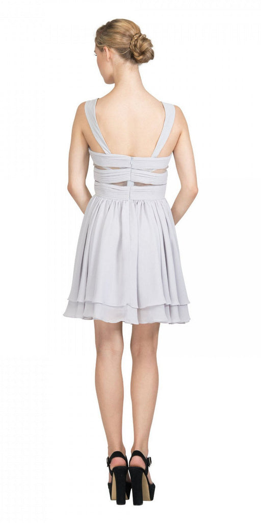 Silver Homecoming Short Dress with Sheer Cut-Outs Back View