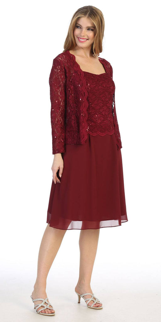 Burgundy Wedding-Guest Dress with Long Sleeve Jacket