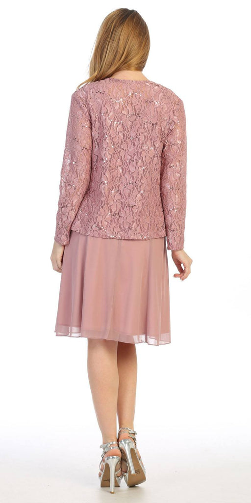Mauve Wedding-Guest Dress with Long Sleeve Jacket