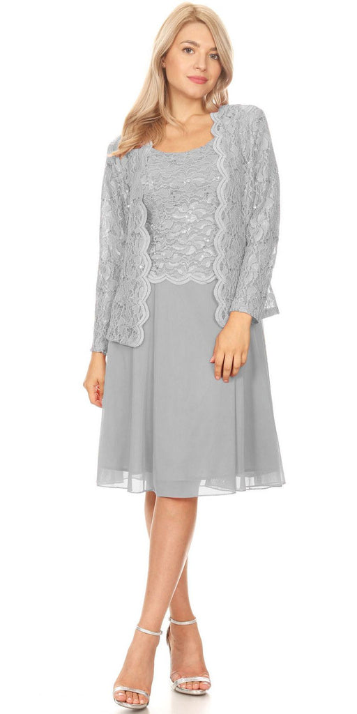 Silver Wedding-Guest Dress with Long Sleeve Jacket