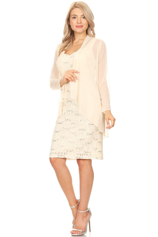 Champagne Short Formal Dress with Long Sleeve Jacket