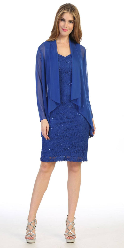 Royal Blue Short Formal Dress with Long Sleeve Jacket