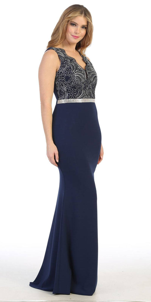 Lace Bodice Sleeveless Long Prom Dress Navy Blue