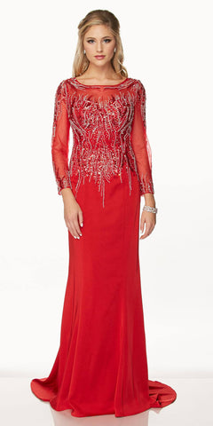 Juliet 646 Red Long Sleeve Embellished Bodice Formal Dress with Train