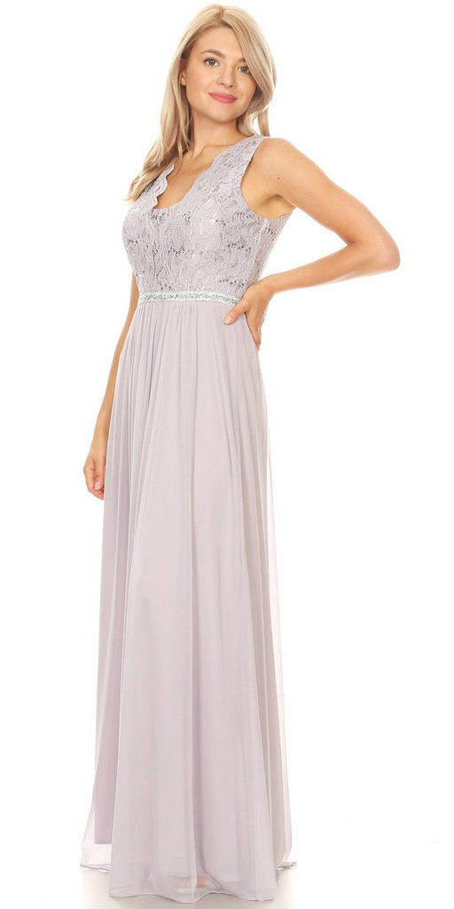Lace Bodice Silver Sleeveless A-Line Long Formal Dress